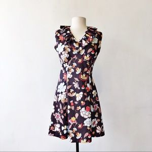 Vintage Homemade 70's Polyester Brown Floral Dress